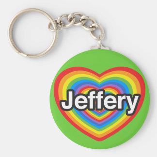 Amo a Jeffery. Te amo Jeffery. Corazón Llavero Redondo Tipo Pin