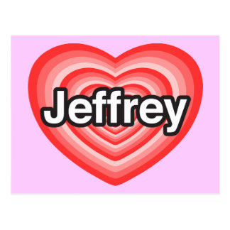 Amo a Jeffrey. Te amo Jeffrey. Corazón Tarjeta Postal