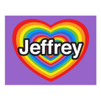 Amo a Jeffrey. Te amo Jeffrey. Corazón Postales