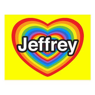 Amo a Jeffrey. Te amo Jeffrey. Corazón Tarjetas Postales