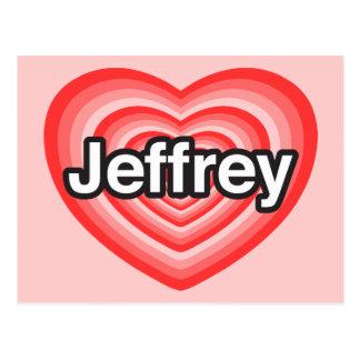 Amo a Jeffrey. Te amo Jeffrey. Corazón Postal