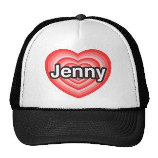 Amo a Jenny. Te amo Jenny. Corazón Gorros Bordados