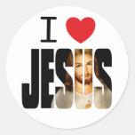 Amo a Jesús - corazón Jesús de I con imagen en nom Pegatinas