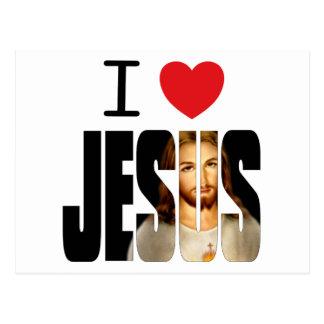 Amo a Jesús - corazón Jesús de I con imagen en nom Postales