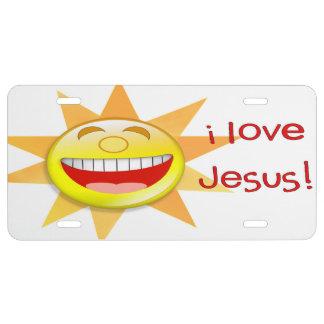 Amo a Jesús (el sol) Placa De Matrícula