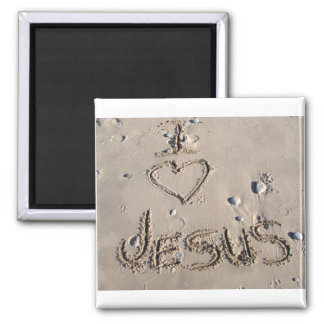 Amo a Jesús escrito en arena Imán Para Frigorifico
