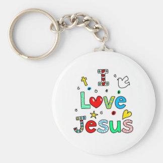 Amo a Jesús Llavero Redondo Tipo Pin