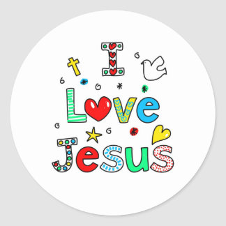 Amo a Jesús Pegatina Redonda