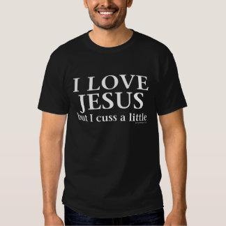 Amo a Jesús pero cuss una pequeña camiseta Remeras