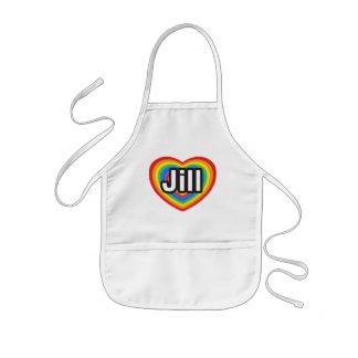 Amo a Jill. Te amo Jill. Corazón Delantal Infantil