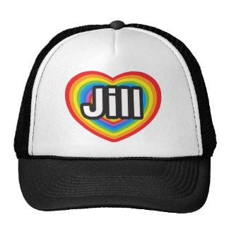 Amo a Jill. Te amo Jill. Corazón Gorras De Camionero