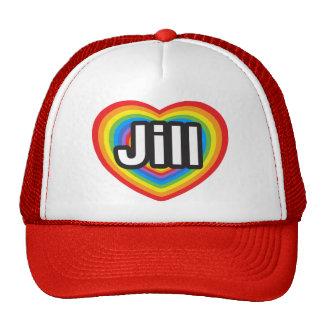 Amo a Jill. Te amo Jill. Corazón Gorro De Camionero