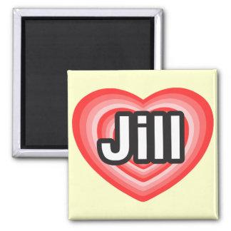 Amo a Jill. Te amo Jill. Corazón Imán Cuadrado