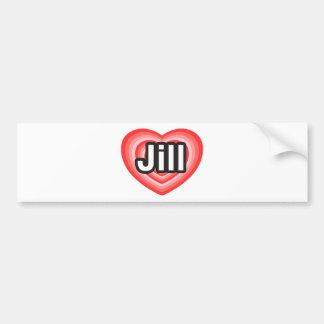 Amo a Jill. Te amo Jill. Corazón Pegatina Para Auto