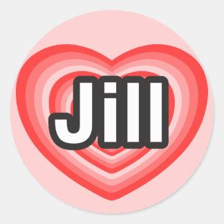 Amo a Jill. Te amo Jill. Corazón Pegatina Redonda