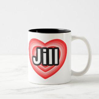 Amo a Jill. Te amo Jill. Corazón Taza De Dos Tonos