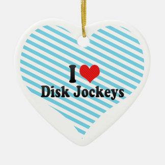 Amo a jinetes de disco adorno de cerámica en forma de corazón