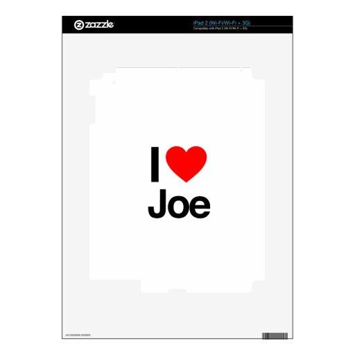 amo a Joe iPad 2 Calcomanía