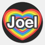 Amo a Joel. Te amo Joel. Corazón Etiqueta Redonda