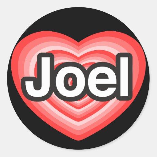 Amo a Joel. Te amo Joel. Corazón Pegatina Redonda