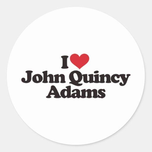 Amo a John Quincy Adams Pegatina Redonda