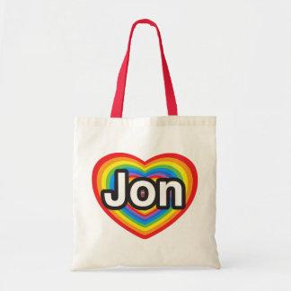 Amo a Jon. Te amo Jon. Corazón Bolsas