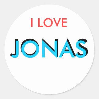 Amo a Jonas Pegatina Redonda