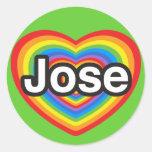 Amo a Jose. Te amo Jose. Corazón Etiquetas Redondas