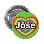 Amo a Jose. Te amo Jose. Corazón Pin