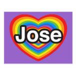 Amo a Jose. Te amo Jose. Corazón Tarjetas Postales