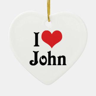 Amo a Juan Adorno Navideño De Cerámica En Forma De Corazón