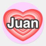 Amo a Juan. Te amo Juan. Corazón Etiquetas Redondas