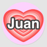 Amo a Juan. Te amo Juan. Corazón Pegatina Redonda