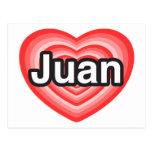 Amo a Juan. Te amo Juan. Corazón Postal