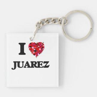Amo a Juarez Llavero Cuadrado Acrílico A Doble Cara