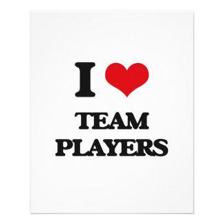 Amo a jugadores de equipo tarjetas informativas