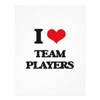 Amo a jugadores de equipo tarjeta publicitaria