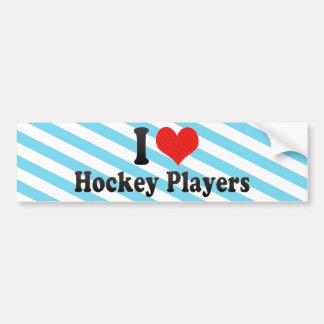 Amo a jugadores de hockey pegatina de parachoque