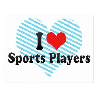 Amo a jugadores de los deportes tarjeta postal