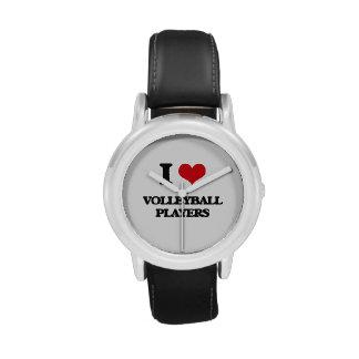 Amo a jugadores de voleibol reloj de mano