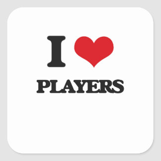 Amo a jugadores calcomanía cuadradase