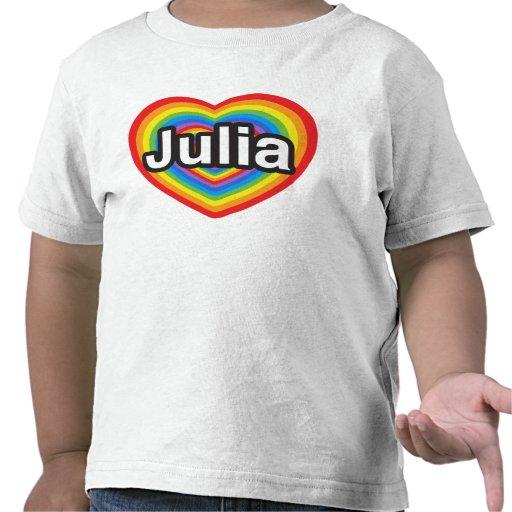 Amo a Julia. Te amo Julia. Corazón Camisetas