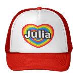 Amo a Julia. Te amo Julia. Corazón Gorra