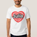 Amo a Julia. Te amo Julia. Corazón Playera