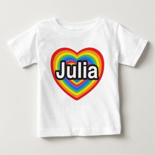 Amo a Julia. Te amo Julia. Corazón Playera De Bebé