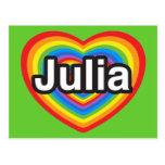 Amo a Julia. Te amo Julia. Corazón Postal
