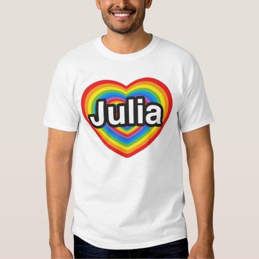 Amo a Julia. Te amo Julia. Corazón Remera