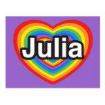 Amo a Julia. Te amo Julia. Corazón Tarjeta Postal
