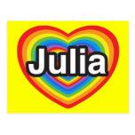 Amo a Julia. Te amo Julia. Corazón Tarjetas Postales