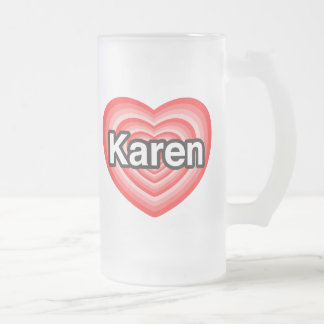 Amo a Karen. Te amo Karen. Corazón Jarra De Cerveza Esmerilada